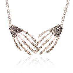 Silver Metal Gripper Alloy Short Collar Bone Necklace -