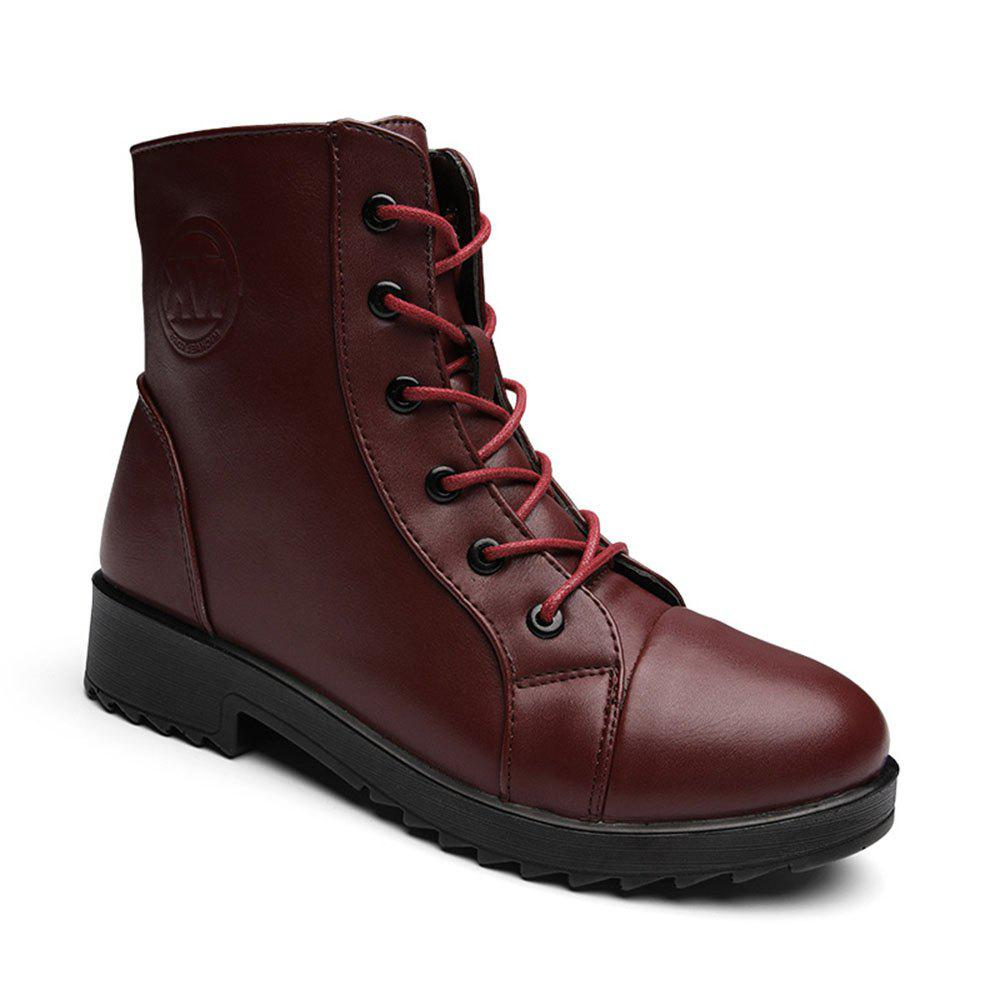 classic style outlet boutique reputable site PU Leather Warm Fur Snow Polyurethane Outsole Boots