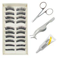 4 in 1 Black Thick  False Eyelash Kit Suit -