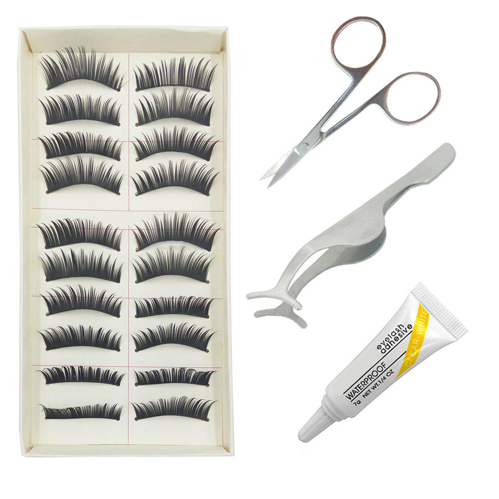 Hot 4 in 1 Black Thick  False Eyelash Kit Suit