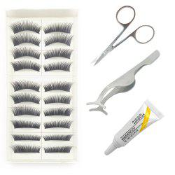 4 in 1 Black Thick Eye End Stretched False Eyelash Kit Suit -