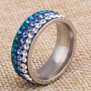 2017 New Fashion Jewelry Birthday Gift Ladies Stainless Steel Ring Three Rows of Diamond Rings -