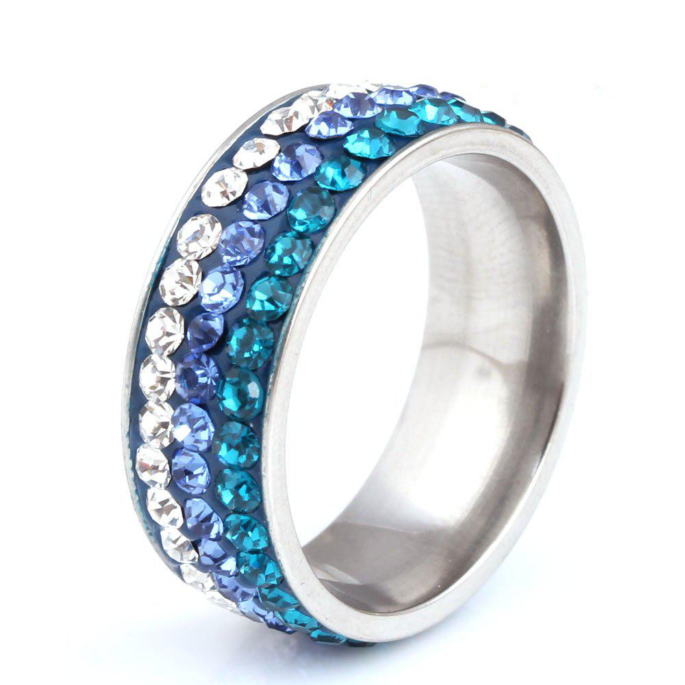 Sale 2017 New Fashion Jewelry Birthday Gift Ladies Stainless Steel Ring Three Rows of Diamond Rings
