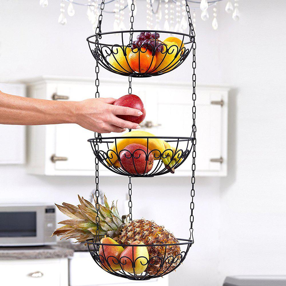Hot 3 - Tier Wire Hanging Basket Fruit Vegetable Basket