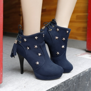 Round Head  High-Heeled Lace Tie Short Boots -