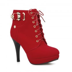 Round Fine with High Heeled All-Match Tie Belt Buckle Boots -