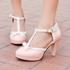 Women's Sandals Mixed Color Sweet Style Bow Knot Thick Heel Shoes -