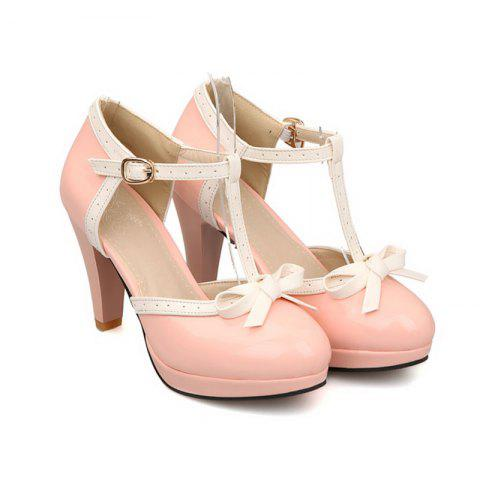 Shop Women's Sandals Mixed Color Sweet Style Bow Knot Thick Heel Shoes