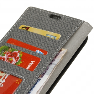 Woven Pattern Texture Wallet Leather Stand Cover Phone Cases for iPhone X -