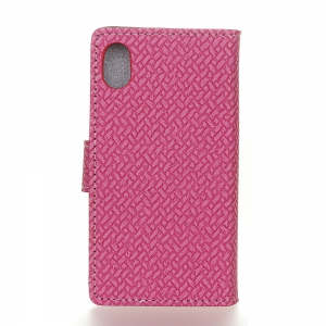 WovenPattern Texture Wallet Leather Stand Cover Phone Cases for iPhone X -