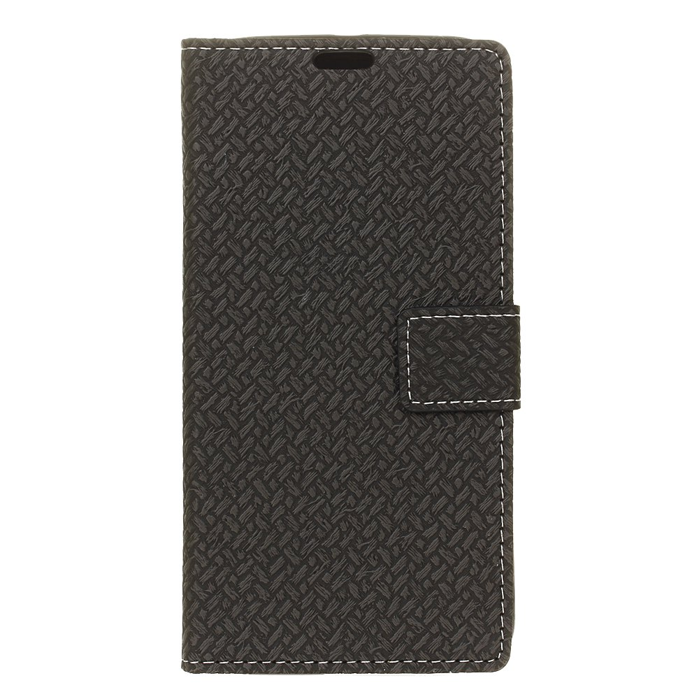 Shop Woven Pattern Texture Wallet Leather Stand Cover Phone Cases for iPhone X