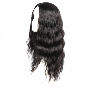 Black Color Synthetic Hair Body Wave Long Wigs with Side Bangs Celebrity Style Pelucas for Africa Women -