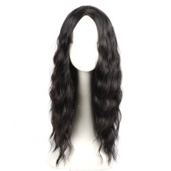 Black Color Synthetic Hair Body Wave Long Wigs with Side Bangs Celebrity Style Pelucas for Women -