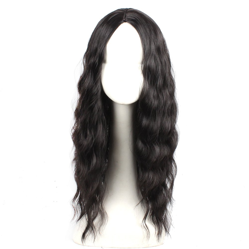 Unique Black Color Synthetic Hair Body Wave Long Wigs with Side Bangs Celebrity Style Pelucas for Women