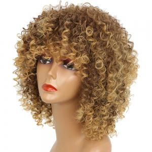 Short Kinky Curly Hair Hot Heat-resistant Synthetic Golden Blonde Mixed Color Wig for African American Women -
