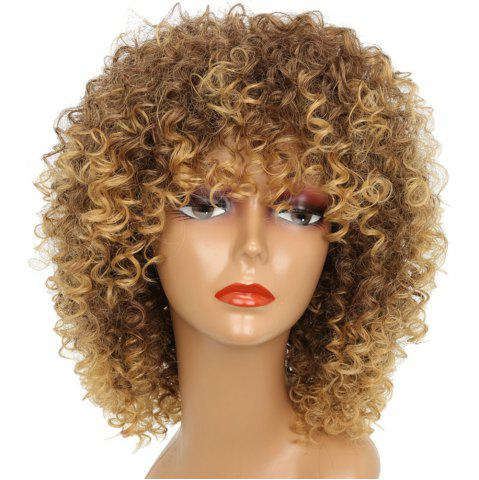 New Short Kinky Curly Hair Hot Heat-resistant Synthetic Golden Blonde Mixed Color Wig for African American Women