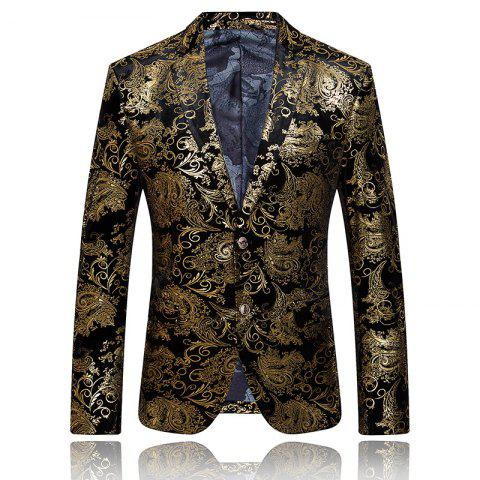 New High-end Fashion Luxury Men's Golden Floral Blazers Business Casual Suit