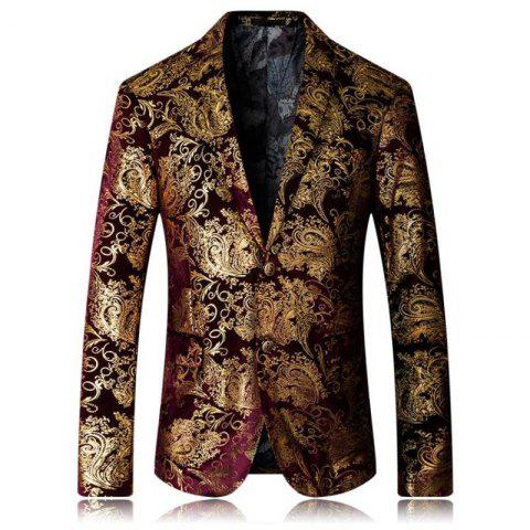 Unique High-end Fashion Luxury Men's Golden Floral Blazers Business Casual Suit