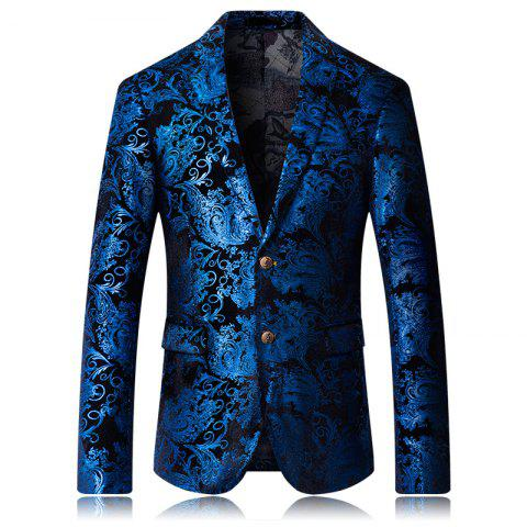 Latest High-end Fashion Luxury Men's Golden Floral Blazers Business Casual Suit
