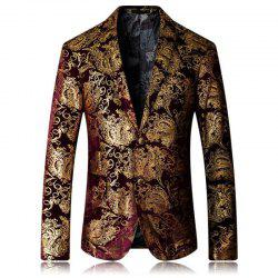 High-end Fashion Luxury Men's Golden Floral Blazers Business Casual Suit -