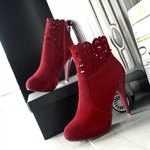 Hollowed  Out Round Head Heel Fashion Short Boots -