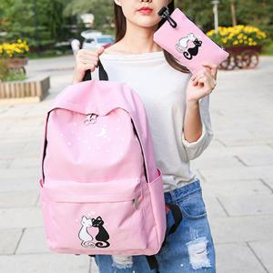 Women's Backpack Preppy Style Color Block Faddish Bags Set -
