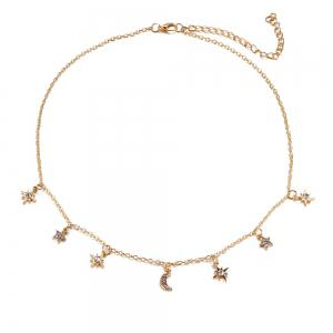 Double Layer Choker Gold Plated Pendant Necklace -