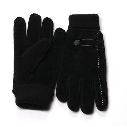 Mens Black Winter Gloves with Knit Cuff -