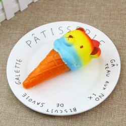 PU Slow Rising Squishy Toy Ice Cream with Colorful Bear Head 1PC -