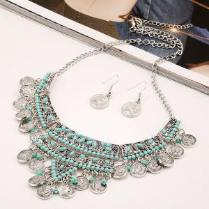 Бирюзовый Fringed Coin Head Beads Necklace Set -