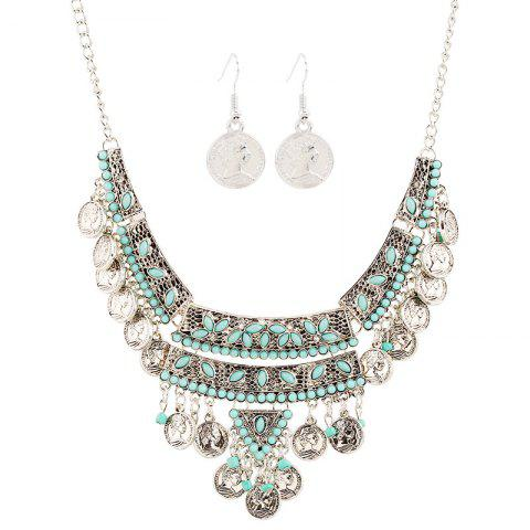 Бирюзовый Fringed Coin Head Beads Necklace Set