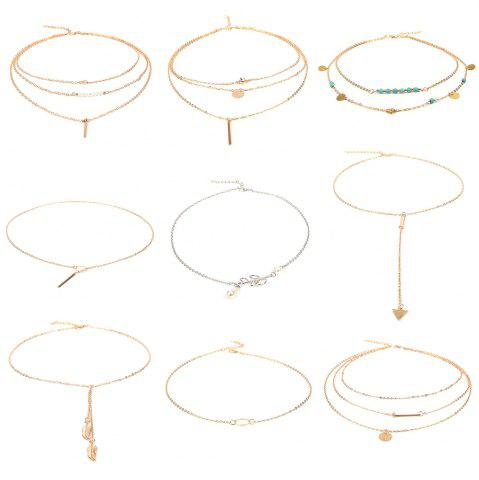 Trendy 9pcs Women's Fashion Necklace Set All Match Stylish Necklace Accessory