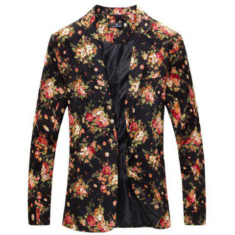 Fancy Men Floral Print Cotton Blend Casual Blazer