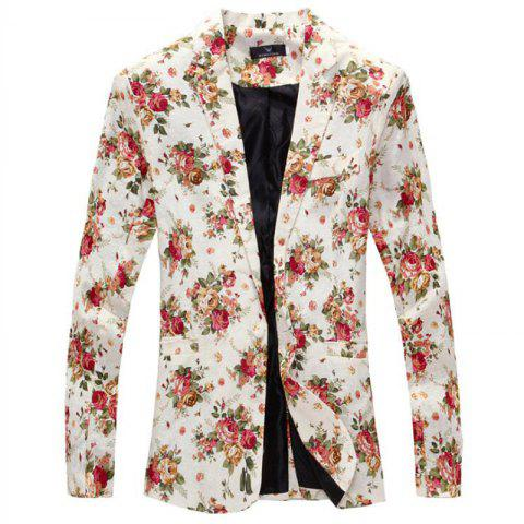 Fashion Men Floral Print Cotton Blend Casual Blazer