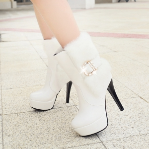 Round Head Fine Heel High Heeled Fashion Buckle Buckle Short Boots -
