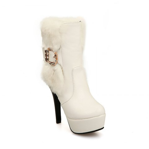 Fashion Round Head Fine Heel High Heeled Fashion Buckle Buckle Short Boots