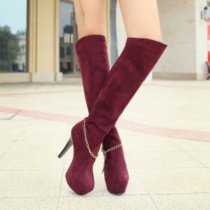 Round Table with Ultra Fine Waterproof Sexy High-Heeled Boots Knee -