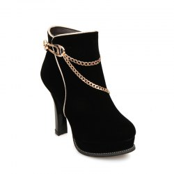 Round High Heel Metal Element Short Boots -