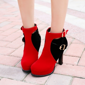 Round Head High Heel Fashion Short Boots -