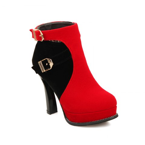 Unique Round Head High Heel Fashion Short Boots