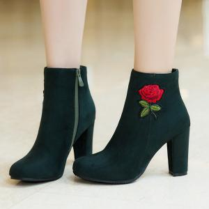 Round Head Heel High Fashion Embroidery Temperament Short Boots -