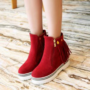 Short Tassels Thick Bottom Round Head Boots -