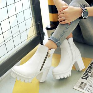 Round Head Waterproof Heel Casual Short Boots -