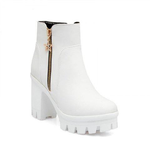 Chic Round Head Waterproof Heel Casual Short Boots