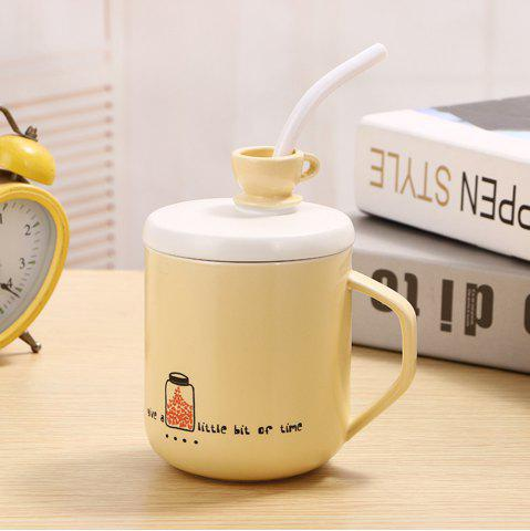 Fashion 400Ml Straw Colored Glazed Candy-colored Ceramic Cup