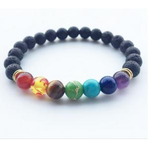 New 7 Chakla Healing Balance Beads Bracelet Yogas Life Energy Bracelet Lovers Casual Jewelry -