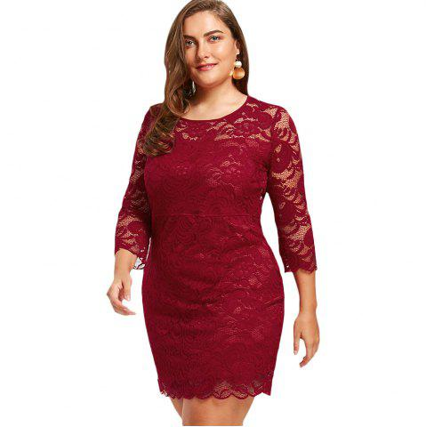 Sale Women'S Sheath Dress 3/4 Sleeves Lace Hollow Out Sexy Plus Size Dress
