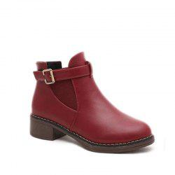 Round Head Women Thick Short Boots -