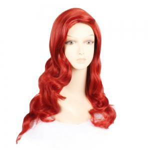 Fashion Style Synthetic Hair Long Wavy Red Wine Peruca Anime Cosplay Women's Wig -