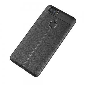 Contracted Leather Business Litchi Pattern PU Soft TPU Cover Case for Vivo X20 -